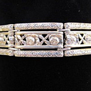 SALE Rare Silver The Netherlands Signed Panel Bracelet-4 Hallmarks