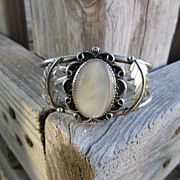 "Signed Silver ""LY"" Leo Yazzie Cuff Bracelet with Mother of Pearl"