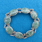 Signed Sterling Jade Cabochon Bracelet