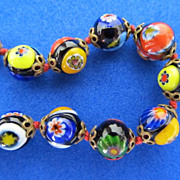 Vintage Murano Millefiore Glass Bead Necklace