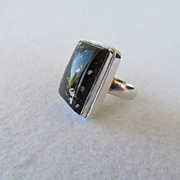 Sterling Black and White Jasper Stone Ring