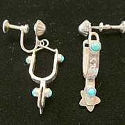 Vintage Signed Sterling Spur Earrings With Turquoise Accents