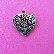 James Avery Sterling Heart Pendant with Flowers