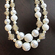 Signed Japan Fabulous Faux Pearl and Textured Faux Pearl Necklace
