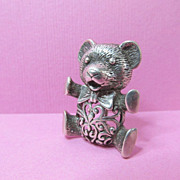 SALE Signed Jezlaine Sterling Teddy Bear Pin Brooch With Heart