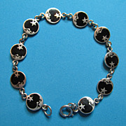 SALE PENDING Sterling Man in the Moon and Star Link Bracelet