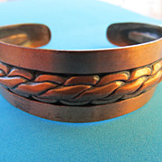 Signed Bell Copper Cuff Bracelet