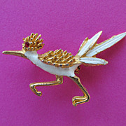 SALE Vintage White Enamel Gold Tone Road Runner Brooch with Ruby Rhinestone