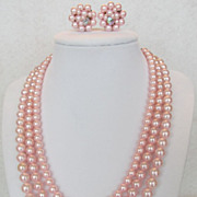SALE Japan Simulated Pink Pearls and Earrings Set Lovely Demi-Parure