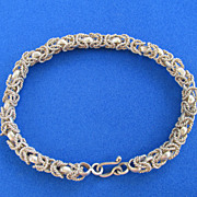 Vintage Egyptian Byzantine Style Linked 800 Silver Bracelet