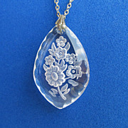Vintage Reverse Etched Crystal Glass Flower Pendant Sterling Necklace