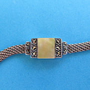 SOLD Italian Sterling Mesh Marcasite Bracelet with Creamy Mother of Pearl