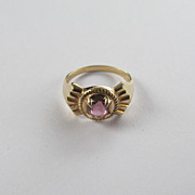Signed Ostby & Barton 10k Yellow Gold Ring With Pink Glass Stone
