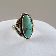 Sterling Bell Trading Post Turquoise Ring