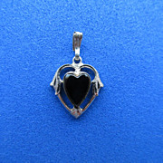 Signed Art Nouveau Style Sterling Onyx Heart Pendant or Charm