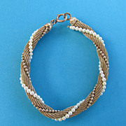 Signed Winard 1/20 12K.G.F. Mesh Bracelet with Simulated Pearls