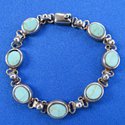 Signed Sterling Turquoise Link Bracelet