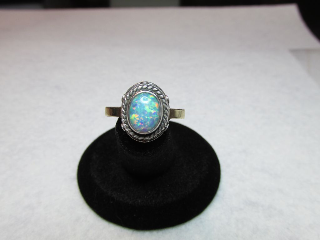 **On Hold For Amanda** Signed Sterling 14K Opal Ring