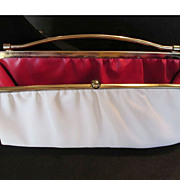 SALE Vintage White Clutch Purse Bag With Red Interior