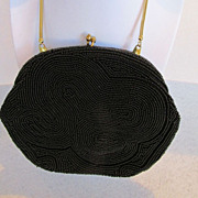 Vintage Neiman Marcus Black Beaded Evening Clutch Purse With Mirror