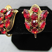 Czechoslovakian Tulip Ruby Red Rhinestone Vintage Earrings