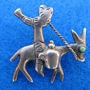 SALE Signed Mexican 865 Silver Man Riding Donkey With Turquoise Accent Brooch