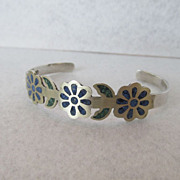 Signed AL Sterling Lapis and Turquoise Cuff Bracelet With Flower Design