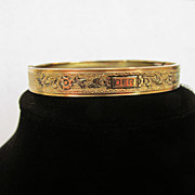 Antique Victorian Signed P&H Gold Filled Bangle Bracelet