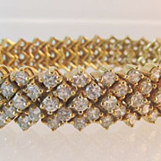 Vintage 14K Gold Plated Sterling and CZ Bracelet Spectacular