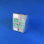 Custom Men's or Women's Sterling Turquoise MOP Ring