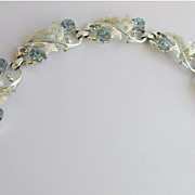 Coro Bracelet Silver Tone And Light Blue Rhinestones