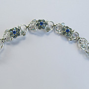 Coro Bracelet Silver Tone With Dark Blue and Light Blue Rhinestones
