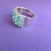 Signed CW Sterling and Light Blue Color Glass Ring