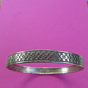 SOLD Vintage Sterling Bangle Bracelet With Cute Flower Design