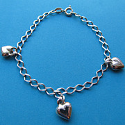 Vintage Sterling Heart Charm Bracelet Made In Italy