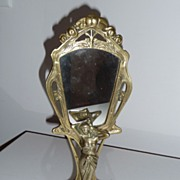 Brass Standing Woman Vanity Mirror
