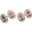 Antique 9ct Gold Rodd White Enamel Ornate Urns Cufflinks