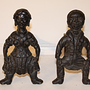Distinctive Pair Of 1800s Andirons Primitive Antique Folk Art
