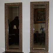Neoclassical Styled Framed Entry Mirrors On Framed Glass Stands On Cabriole Legs