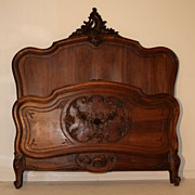 SALE Splendid Antique Louis XV Style Intricately Carved Full Queen Bed in Walnut