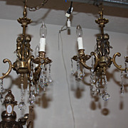 SOLD Spectacular Set of Two Lovely Gold Gilt Chandeliers Adorned with Crystals