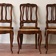 Wonderful Set of Six Antique Louis XV Style Dining Chairs Vertical Ladder Back