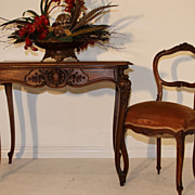 Lovely Antique Louis XV Walnut Carved Writing or Side Table with Drawer