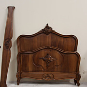 Solid Walnut Antique Bed Full Size French Louis XV Carved Very Heavy