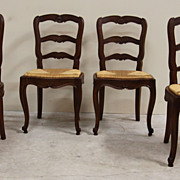 Superb Set of Four Antique Ladder Back Dining Chairs Rush Seat Beautiful Carved