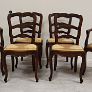 Superb Set of Six Antique Ladder Back Dining Chairs Woven Rush Seat Beautiful