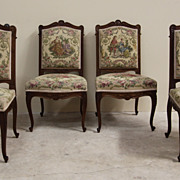 Elegant Antique Set of Four Louis XV Embroidered Dining Chairs Intricate Carved