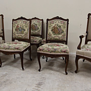 Elegant Set of Six Antique Louis XV Dining Chairs Walnut Upholstered Chairs