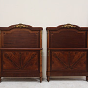 SALE Extravagant pair of Antique Neoclassical Style Walnut Twin Beds with Parquetry