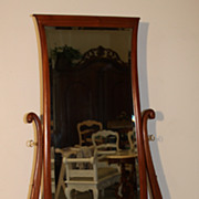 SALE Magnificent Antique Dressing Mirror on Casters with Carved Feet on Casters